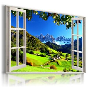 ALPS WINTER MOUNTAINS 3D Window View Canvas Wall Art W500 MATAGA UNFRAMED-ROLLED