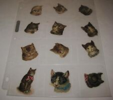 12 Old German Victorian Cat Head Paper Scrap Diecuts for Scrapbook Decorations