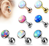 3Pcs Opal Set Surgical Steel Helix Tragus Ear Cartilage Barbell Stud Earring 16G