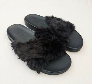NWOT VS PINK Fuzzy Black Slides Size 8-9 Criss-Cross New Without Box