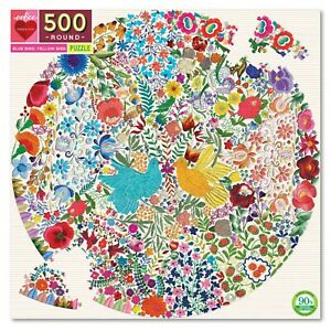 eeBoo 500 Pc Round Puzzle – Blue Bird Kids Toy Family Puzzle 02005