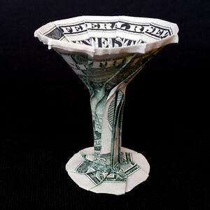 Dollar Origami MARTINI GLASS Charm Mini Money Bartender Gift Real $1 Dollar Bill