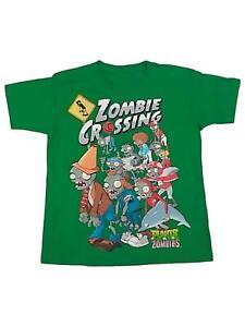 Boys Green Plants VS Zombies T-Shirt Zombie Crossing Tee Shirt Small 6-7