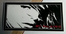 "MY VALKYRIE FACE B&W RED 2.5"" x 5"" RARE MUSIC STICKER"