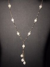 Vintage Sterling 925 Silver White Crystal Pearl Lariat Necklace 18""