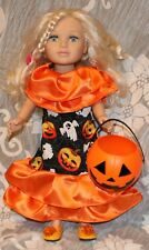 Halloween dress,shoes,pumpkin for 18 inches American girl, Journey girls dolls.