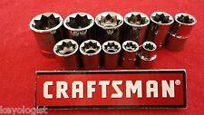 """CRAFTSMAN Socket Set 1/2"""" & 3/8"""" drive SAE 8pt STD 11pc LASER ETCHED"""
