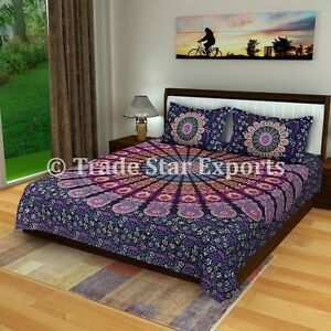 Indian Mandala Bedding Set Boho Hippie Queen Bedspread With Two Pillow Cover