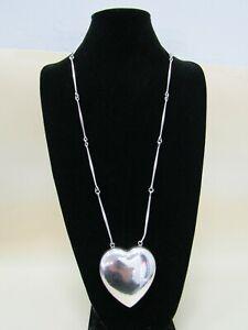 Georg Jensen Astrid Fog Joy Sterling Silver Puff Heart Pendant Necklace Denmark