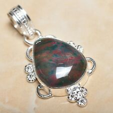 """Handmade Natural Bloodstone Jasper 925 Sterling Silver Pendant 2"""" #P09226"""