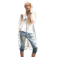 Reino Unido claro ver a través de la lluvia Chubasquero Transparente Festival Abrigo largo PVC Impermeables