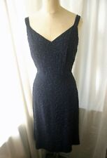 Vintage Rocaille Beaded Navy Crepe Dress 50s