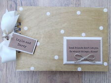 PERSONALISED VINTAGE GOOD FRIENDS WOODEN SCRAPBOOK/PHOTO BOOK /MEMORIES