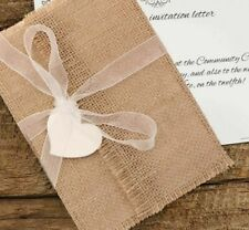 Vintage Wedding Invitations Blank Paper Cards Heart Burlap Lace Rural Styles New