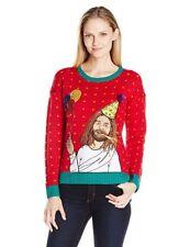 Blizzard Bay Women's Long Sleeve Happy Birthday Jesus Ugly Christmas Sweater Hot