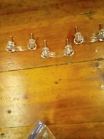 """CLEAR GLASS HANDLES LOT of 3  3"""" HOLES Kitchen Cabinet Door Drawer Pulls Vintage"""
