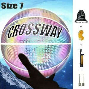 Holographic Glowing Reflective Basketball Glow in The Dark Basketball Size 7 US
