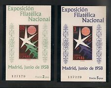 Spain #877a-878a S/S VF MNH - 1958 80c to 3p Exhibition Emblem & Globe