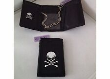 NEW Mens Boys Skull &Crossbar  Tri-fold Wallet with Security Chain.
