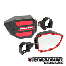 "Pro Armor Universal RED Side View Mirrors 1.75"" Clamp Kawasaki Can-am Polaris"
