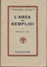 LISI NICOLA L'ARCA DEI SEMPLICI 1938 PRIMA EDIZIONE