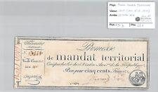 MANDAT TERRITORIAL - 500 FRANCS (AVEC LE N° DE SERIE) 28 VENTOSE AN 4 MARANE