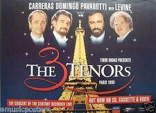 """The 3 Tenors """"Paris 1998"""" Aussie Promo Poster-Carreras,Domingo,P avarotti,Levine"""