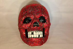 Rhinestone Skull Telephone with Bling in Red Unique Design N 228