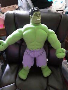 "Material plush hulk doll 2001 19"" lg plush toy with vinyl head"