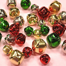 30 Assorted Sizes Red Green Gold Silver Metal Bells  - Christmas Dress It Up