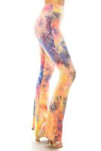 S-XL Women's Tie Dye Flare Leg Pants Yoga Leggings Soft Knit Stretch High Waist