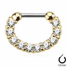 "5/16"" with Clear Gems Gold Plated Septum Clicker 16g"