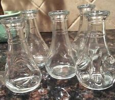 "Lot of 5 Vintage Glass Pinch Bud Vases 3.5"" Tall Marked Mexico + L - Table Decor"