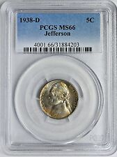 1938-D Jefferson Nickel PCGS MS-66 5c Uncirculated Superbly Toned  Coin