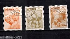 1984 - 3X TIMBRES OBL. - VIET-NAM - FAUNE - Yt.553/558/562