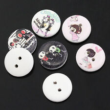 25  Mixed Scary Halloween Design Wood Buttons 15mm Sewing crafts Free P&P