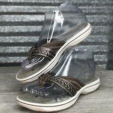 Clarks Women's Vegan Pewter Flip Flop Flat Braid Detail Shoe Size 6