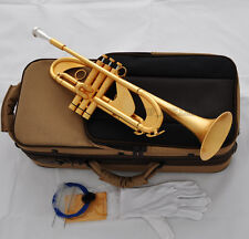 Professional Satin Gold Plating Heavy Trumpet Horn Bb Monel Valve Germany Brass