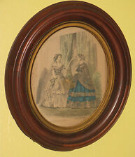 ~Antique Wood Picture Frame with French La Mode Illustree Victorian Women #3~