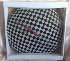 Round circular glass Black & Silver-Grey Check pattern wall clock BNIB