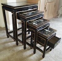 VINTAGE ORIENTAL ASIAN NESTING TABLES, Mother of Pearl Black Lacquer & Glass Top