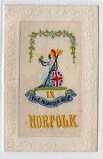 NORFOLK REGIMENT: Embroidered Silk postcard (C1829).