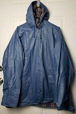 Misty Harbor Men's Size 2XL Rain Coat Flannel Lined Hood Full Zip Blue And Plaid