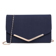 Ladies Fashion Chain Evening Envelope Clutch PU Leather Shoulder Bag Handbag Navy