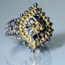 Barbara Bixby Marquise Shape Sterling Silver 18K Gold Ring Size 6.5