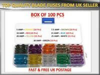 100PCS LAND ROVER CARS/SUV MEDIUM BLADE FUSES BOX *5 7.5 10 15 20 25 30 AMP*