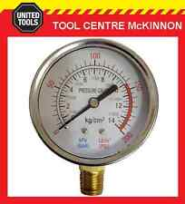 "QUALITY AIR COMPRESSOR 200psi PRESSURE GAUGE WITH ¼"" BSP THREAD – BOTTOM MOUNT"