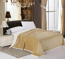 Elegant Valboa Oversized Sherpa Blanket-Queen Size-Metallic Gold-NEW-SHIPS FREE!