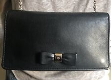 MULBERRY CLUTCH ON CHAIN WALLET CROSSBODY BAG. BOW DETAIL. BLACK LEATHER