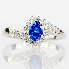 New 925 Silver Sapphire Gemstone Ring Wedding Women Men Date Party Lot